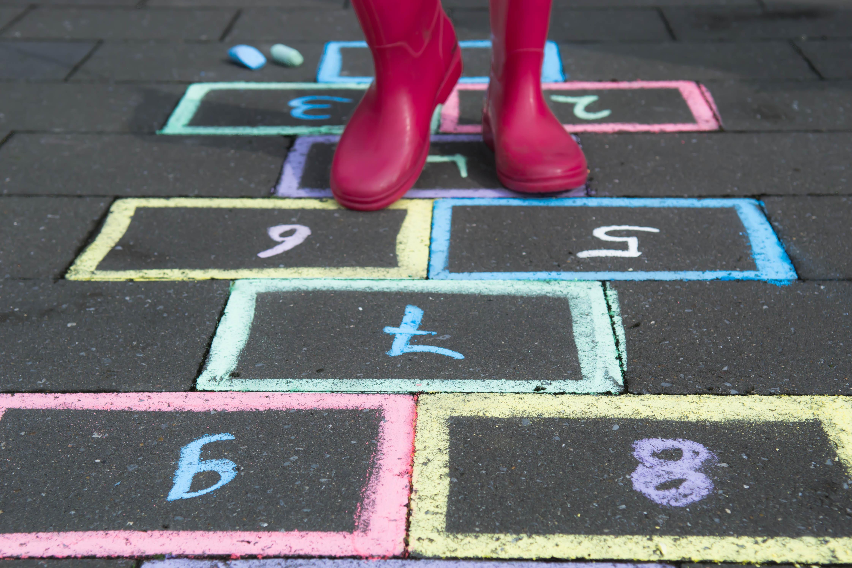 Play hopscotch